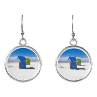 Two beach chairs at the North Sea Earrings