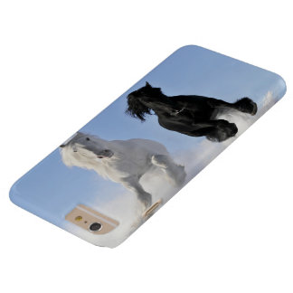 two beautifil horses black and white run in desert barely there iPhone 6 plus case