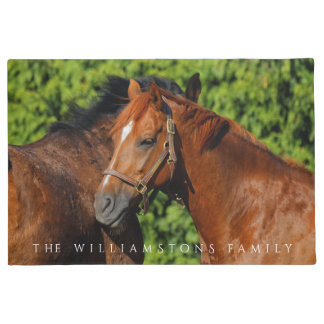 Two Beautiful Chestnut Horses in the Sun Doormat