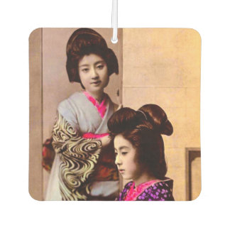 Two Beautiful Geisha Posing in Old Japan Vintage Car Air Freshener