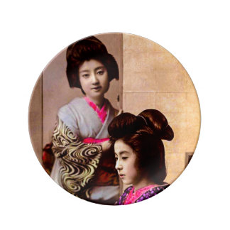 Two Beautiful Geisha Posing in Old Japan Vintage Porcelain Plate