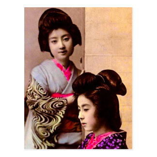 Two Beautiful Geisha Posing in Old Japan Vintage Postcard