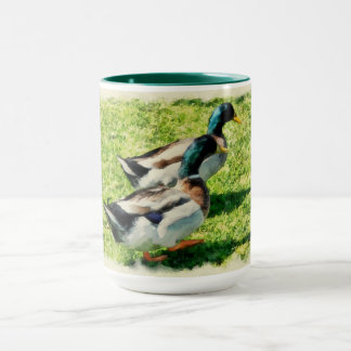 Two beautiful marching ducks mug