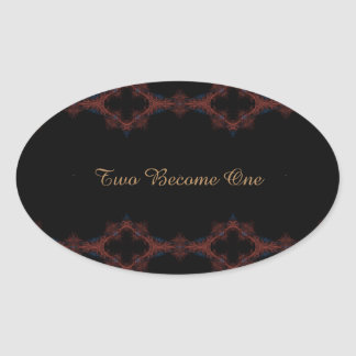 Two Become One Fancy Oval Sticker