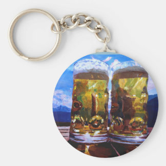 Two beers with Mountains Keychains