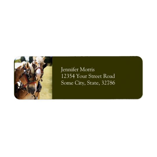 Two Belgian Draught   Horses Return Address Label