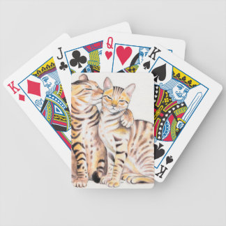 Two Bengal Cats Watercolor Art Bicycle Playing Cards