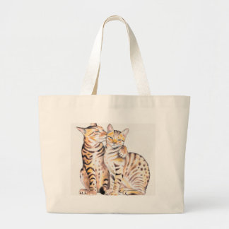 Two Bengal Cats Watercolor Art Large Tote Bag