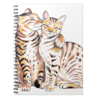 Two Bengal Cats Watercolor Art Notebook