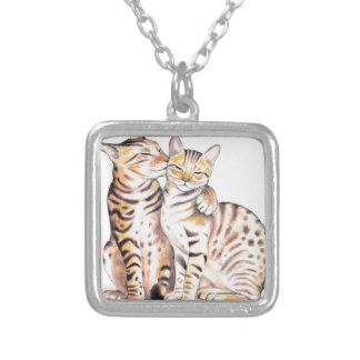 Two Bengal Cats Watercolor Art Silver Plated Necklace