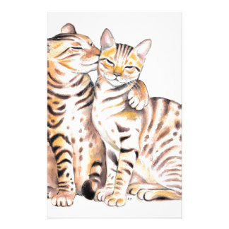 Two Bengal Cats Watercolor Art Stationery