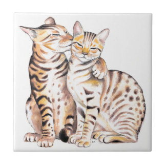 Two Bengal Cats Watercolor Art Tile