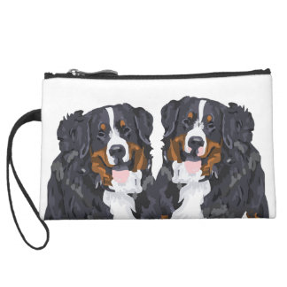 Two Berners Suede Wristlet