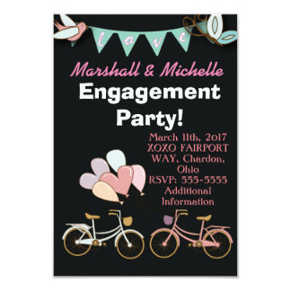 Two Bicycles Engagement Party Invitation Balloon