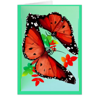 TWO BIG BRIGHT ORANGE BUTTERFIES CARD