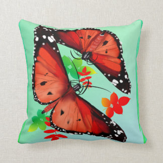 TWO BIG BRIGHT ORANGE BUTTERFIES CUSHION