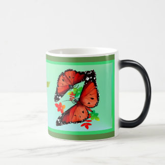 TWO BIG BRIGHT ORANGE BUTTERFIES MAGIC MUG