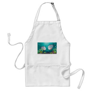 Two big grey fishes under the sea standard apron