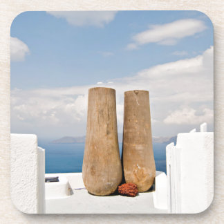 Two big pots on Santorini island Coaster