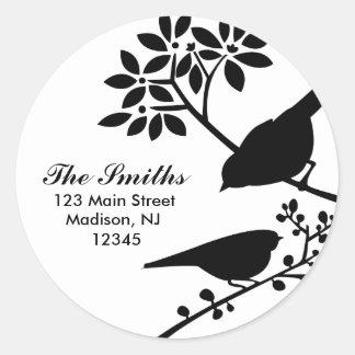 Two Birds Address Labels Round Sticker