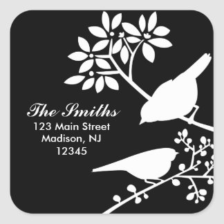 Two Birds Address Labels Square Sticker