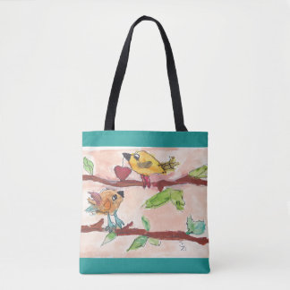 TWO BIRDS ON A BRANCH TOTE BAG