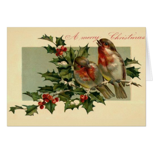 Two birds on a Holly branch Card