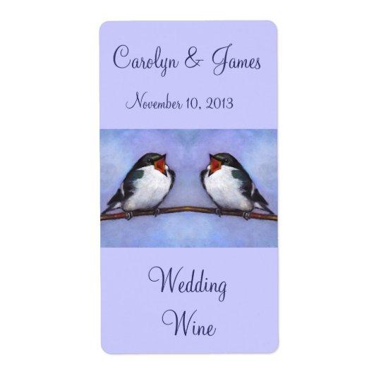 Two Birds On Branch: Wedding Wine: Oil Pastel Art Shipping Label