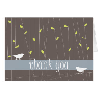 Two Birds Thank You Card: Chocolate Brown Note Card