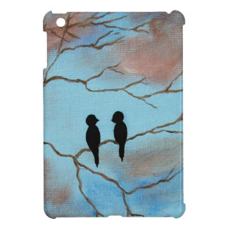 Two Black Birds On Branches Abstract Art Painting iPad Mini Cover
