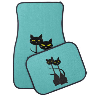 Two Black Cats with Long Necks Car Mat