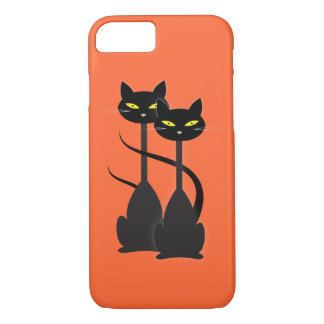 Two Black Cats with Long Necks on Orange iPhone 7 Case