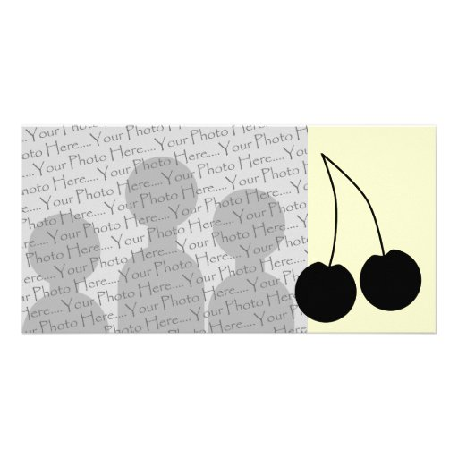 Two Black Cherries. Personalized Photo Card