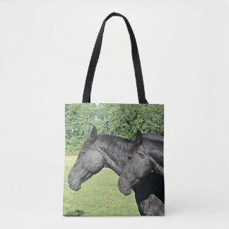 Two Black Horses Tote Bag
