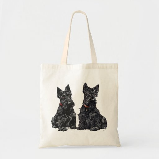 Two Black Scottish Terriers Canvas Bags