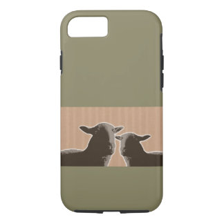 Two black sheep on tan and green background iPhone 7 case
