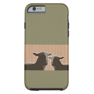 Two black sheep on tan and green background tough iPhone 6 case