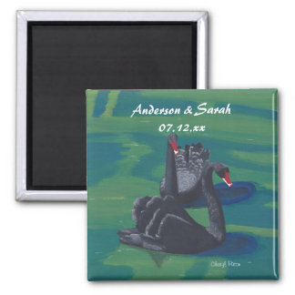 Two Black Swans Swimming Personalized Date Magnets