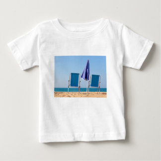 Two blue beach chairs and parasol at sea.JPG Baby T-Shirt