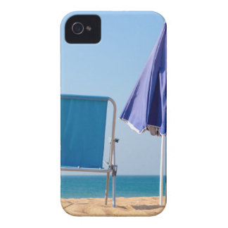 Two blue beach chairs and parasol at sea.JPG iPhone 4 Covers