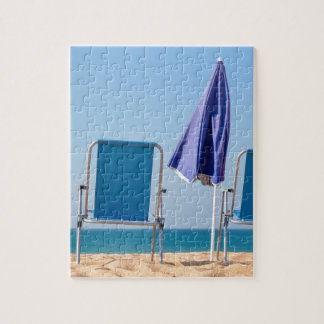 Two blue beach chairs and parasol at sea.JPG Jigsaw Puzzle