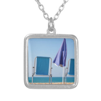Two blue beach chairs and parasol at sea.JPG Silver Plated Necklace