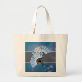 Two blue fans black jumbo tote bag