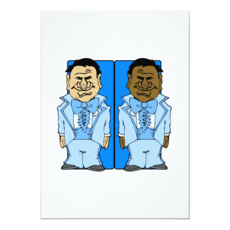 "Two Blue Grooms 5"" X 7"" Invitation Card"
