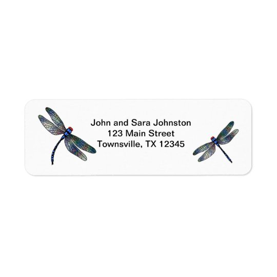 Two Blue Iridescent Dragonflies Return Address Label