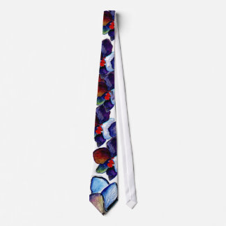 Two Blue Orchid Tie with White background