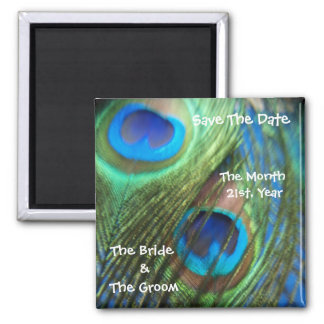 Two Blue Peacock Feathers Wedding Save the Date Square Magnet