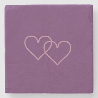 Two blueberry-colored hearts stone coaster