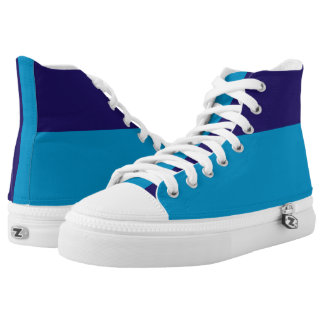 Two Blues Two-Tone Hi-Top Printed Shoes