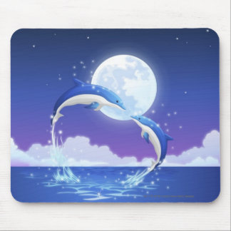 Two bottle-nosed dolphins jumping out of water mouse pad